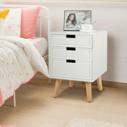 1.7ft Tall Bedside Tables Nightstands White With 3 Drawers N
