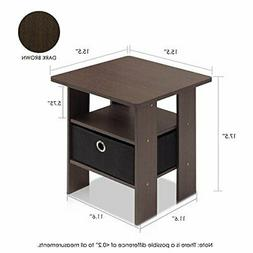 Furinno 11157DWN End Table Bedroom Night Stand w/Bin Drawer,