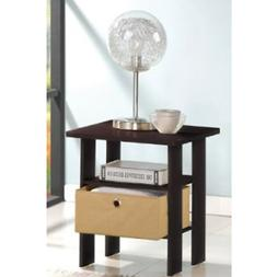 Petite End Table Bedroom Night Stand with Foldable Bin Drawe