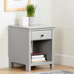 South Shore 12139 Cotton Candy 1-Drawer Nightstand, Soft Gra