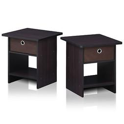 Furinno 2-10004DWN End Table/ Night Stand Storage Shelf with
