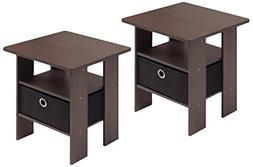 Furinno 2-11157DBR End Table Bedroom Night Stand Petite Dark