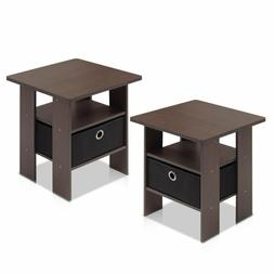 Furinno 2-11157Dbr End Table Bedroom Night Stand, Petite, Da