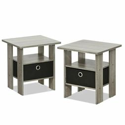 Furinno 2-11157GYW Petite Night Stand 2 End Tables French Oa