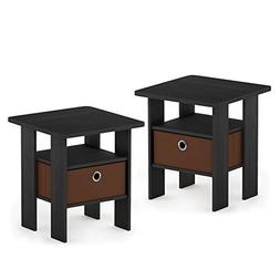 Furinno 2-11157AM Andrey 2-Pack Bin Drawer End Table Nightst