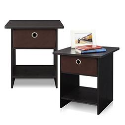Furinno 2-10004EX End Table/ Night Stand Storage Shelf with