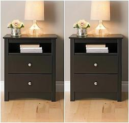 2 Piece Black 2-Drawer Nightstand Bedroom Furniture Collecti