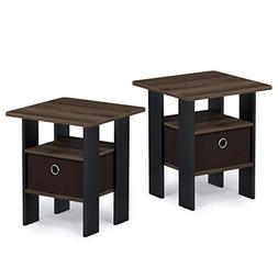 Furinno 2-11157CWN Andrey 2-Pack Bin Drawer End Table Nights