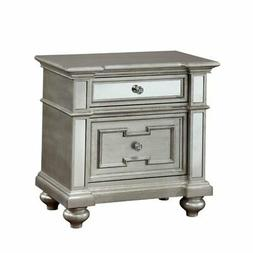 2 drawer mirrored nightstand in silver