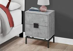 2 Drawer Night Stand Gray Cement Look Deluxe Decoration Meta