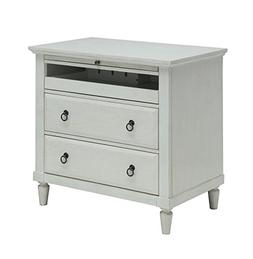 2 Drawer Nightstand with Charging Station And Pull-Out Table