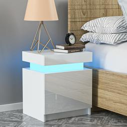 RGB LED Nightstand with 2 Glossy Drawer Modern Bedside End T
