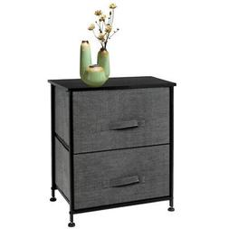 2 Drawers Night Stand End Side Table with Wood Top&Fabric Bi