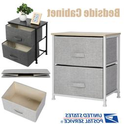 2 Drawers Nightstand Sofa Side Table Organizer Unit Cabinet