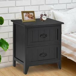 2 Drawers Nightstand Storage Wood End Table Bedroom Side Bed
