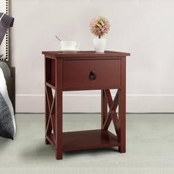 2 Layer Night Stand W/Drawer Bedside End Table Organizer Bed