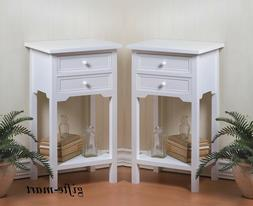 2 modern WHITE small side End bedside Tables shabby Night st