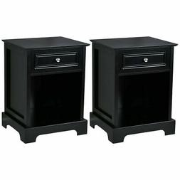 2 PCS Night Stand End Accent Table Drawer Chest Sofa Side Be