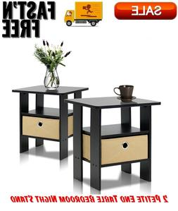 2 Petite End Table Bedroom Night Stand, Espresso/Brown, Stor