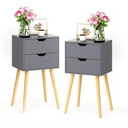 Set of 2 Night Stand Bedside End Table Organizer Wood Bedroo