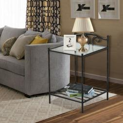 2 Tier Bedside Table Glass Side Sofa End Table Morden Nights