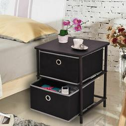 2 Tier Night Stand End Table Storage Side Table Home Office
