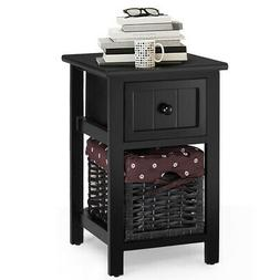 2 Tier Small Nightstand 1 Drawer Bedside End Table Organizer