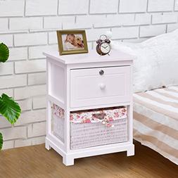 Giantex 2 Tier Nightstand End Table w/ 1 Drawer 1 Basket Woo