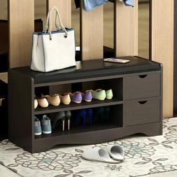 2-Tier Shoe Bench Rack Storage Shelf Organizer Stool Hallway