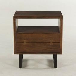 "23"" L Night Stand Faux Live Edge Exotic Acacia Wood Iron Leg"