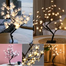24/36/48LED Branch Floral Tree Lamp Table Stand Night Light