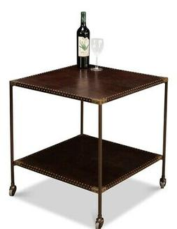 "24"" W Set of 2 Side Table on Caster Wheels Brown Leather Bra"