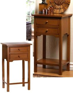 """27.1"""" NATURAL WOOD  END-SIDE-NIGHT STAND TABLES 2 Drawers-Sh"""