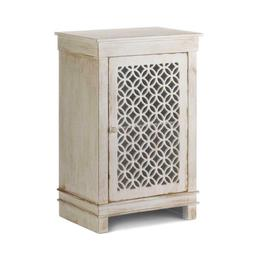 """29"""" H Antiqued White Pine Wood Storage Cabinet Table Cutwork"""