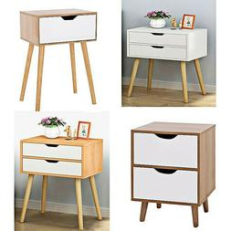 2PC Night Stand 2 Layer W/Drawer Bedside End Table Organizer