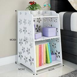 Bedroom Nightstand Bedside Table Rack Cabinet Organizer Shel