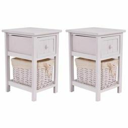 2PCS Mini Night Stand 2 Layer 1 Drawer Bedside End Table Org