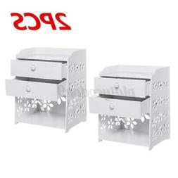 2X Bedroom Night Stand Bedside Table Rack 2 Drawers Cabinet