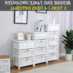3/4 Layer End Side Bedside Table Nightstand Organizer with D