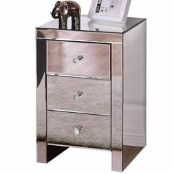3 Drawer Mirrored Nightstand Accent Table Chest Dresser Stor