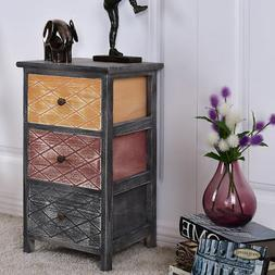 3 Drawers Bedroom Bedside Nightstand Table Wooden Cabinet St