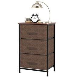 Homfa 3 Drawer Chest Dresser Cabinet, Sturdy Steel Frame Woo
