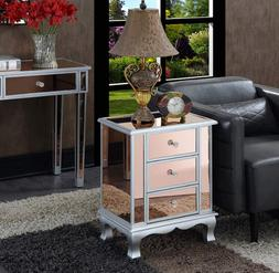 3 Drawer Mirrored End Table Nightstand Rose Silver Glam Styl