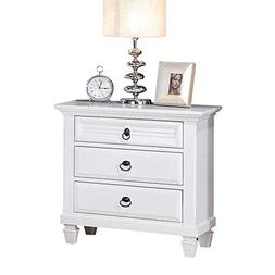 3 Drawer Nightstand Wide Night Stand Organizer White End Tab