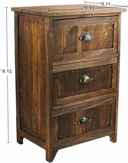 3 Drawer Nightstand Wood Night Stand Storage Bedside Table R