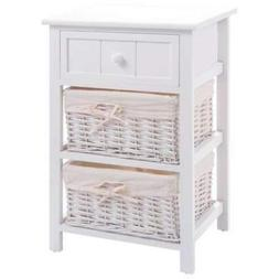 3 Layer 1 Drawer Bedside End Night Stand Table Organizer  Wi