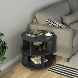 3-Tier Chair Side Table Round Nightstand with Storage Shelve
