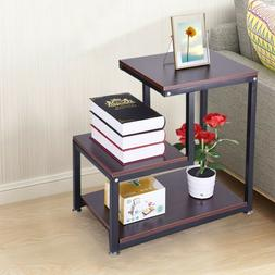 3-Tier Layer Rustic End Table Chair Side Table Night Stand S