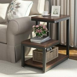 3-Tier Modern Wood Square Coffee End Side Table with Storage