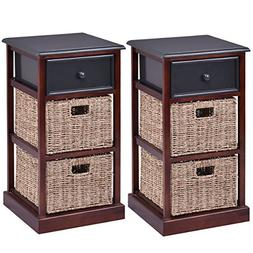 Giantex 2 Pcs 3 Tier Nightstand End Table w/ 1 Drawer 2 Bask